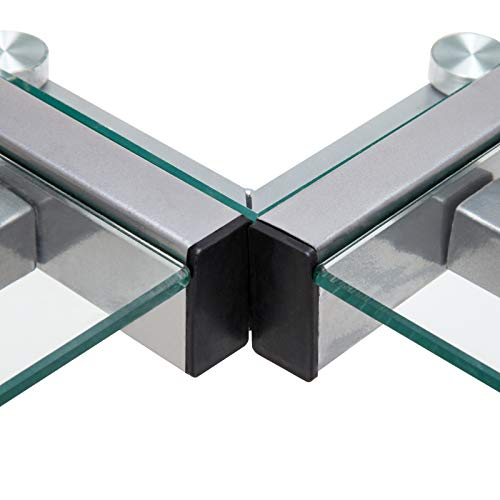 Mecor L-Shaped Corner Computer Desk with Shelf & Stand, Glass Laptop PC/Computer Table Workstation Home Office Furniture, Glass & Metal, Clear by Mecor (Image #4)
