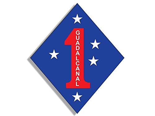 American Vinyl 1st Marine Division Guadalcanal Diamond Shape Sticker (USMC Logo)