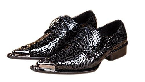 Santimon Men's Western Pointed Toe Chelsea Leather Dress Shoes 11-Black 43 by Santimon