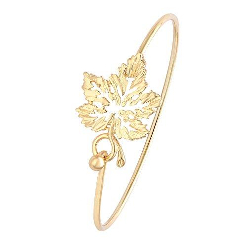 (MANZHEN Dainty 3 Colors Open Maple Leaf Bangle Bracelets for Women(Gold) )