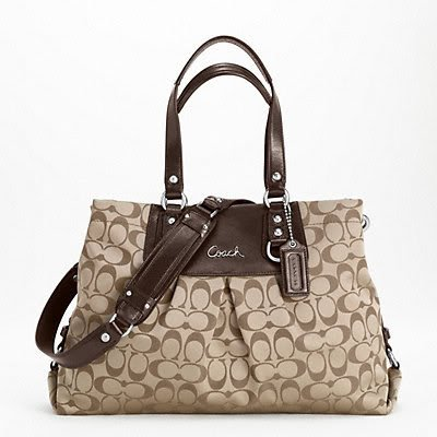 Coach Ashley Signature Sateen Carryall Shoulder Handbag, Style 15510 Khaki Mahogany, Bags Central