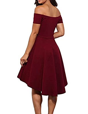 ASCHOEN Women's Casual Off Shoulder Short Sleeve Party Cocktail Formal Skater Dress