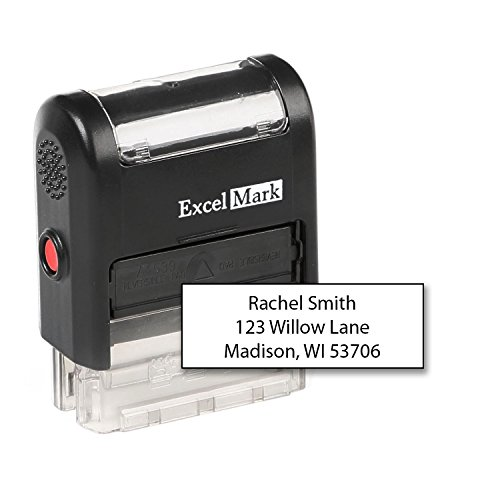 ExcelMark Custom Self Inking Rubber Stamp - Home or Office (A1539-3 -