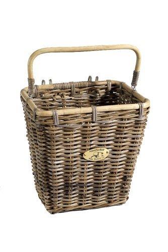 Nantucket Bicycle Basket Co. Tuckernuck Pannier Basket with Hooks, Natural Grey ()