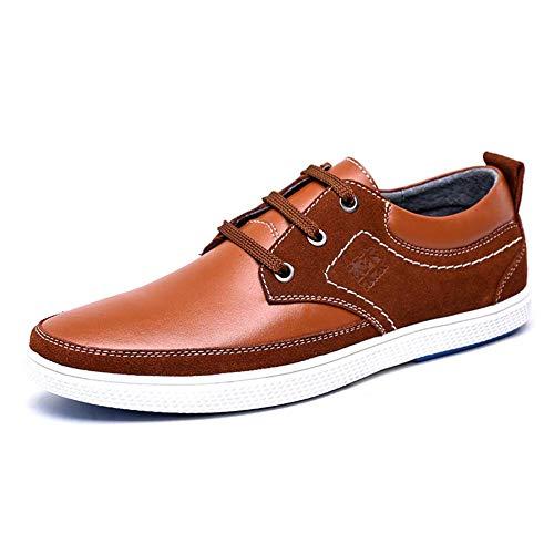 con de HhGold 8 Zapatos Lisos 5 US para para 7 Cordones 6 tamaño 7 Hombres Azul UK Cordones Talla cómodos con Color Hombres Zapatos para Color US Azul UK 5 Marrón Cuero Hombres Casuales wttq5r