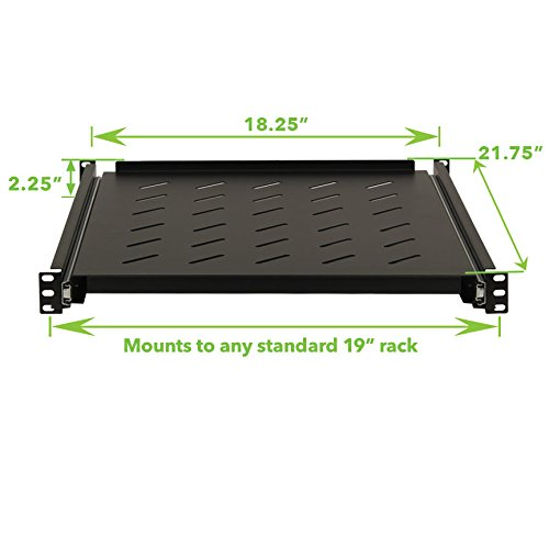NavePoint Sliding Rack Vented Server Shelf 1U 19'' 4 Post Rack Mount 21.65'' (550mm) Deep by NavePoint