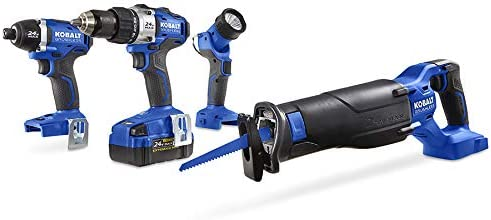 Kobalt Kobalt 24-Volt Max 4-Tool Lithium Ion Li-ion Brushless Motor Cordless Combo Kit with Soft Case