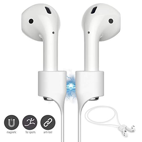 FONY Airpods Magnetic Strap Anti-Lost Airpods Cord Sport String Silicone Leash Cable Connector - Airpods Accessories for Airpods Pro/2/1 (White)