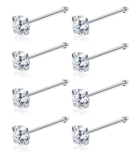 Sllaiss 8Pcs Sterling Silver Tiny Nose Studs Set for Women Girls 3MM Round Czech Crystal Nose Body Piercing Set Hypoallergenic