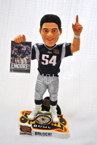 New England patriots 10 inch NFL Super Bowl Teddi Bruschi #54 Championship bobblehead by forever
