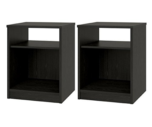 Night Stand with Simple Design in a Classic Look, Set of 2, Black ()