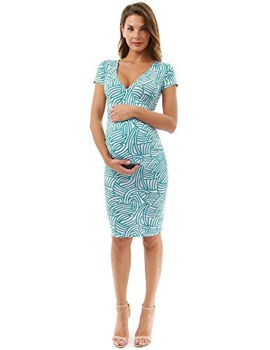 PattyBoutik Mama V Neck Maternity Print Dress (Pattern 8: Turquoise and White L)