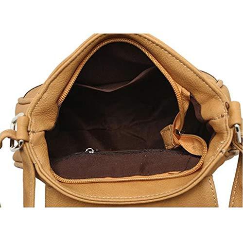 la 20x7x18cm Hombro Khaki PU Bolsos Deep Crossbody de Brown Cuero Bolsos de de nqv4a4gCw0