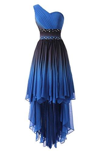 Ballkeid Chiffon Abendkleider Elegante Empire Shoulder Festkleid Low One Lang HUINI High Trägerlose q87xFA00