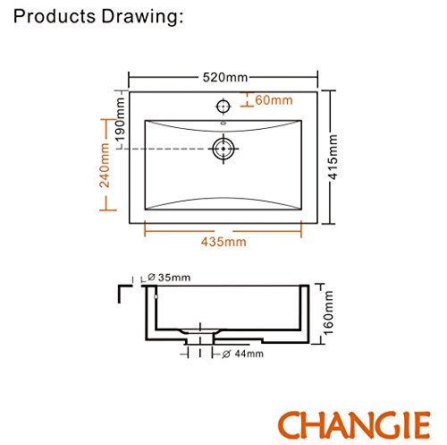 Changie Above Counter Rectangular Vanity Bathroom Ceramic Vessel Basin 6026w White 20 215 16 Inches