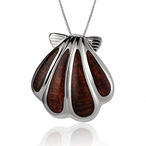 Tropical USA Sterling Silver Koa Wood Sunrise Shell Necklace Pendant with 18