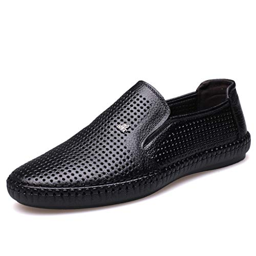 ONLY TOP Mens Loafers Casual Boat Shoes Genuine Leather Slip On Driving Moccasins Hollow Out Breathable Flats Black