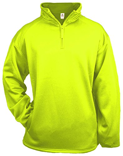 Badger 1/4 Zip Poly Fleece Pullover (1480)-Safety Yellow,X-Small