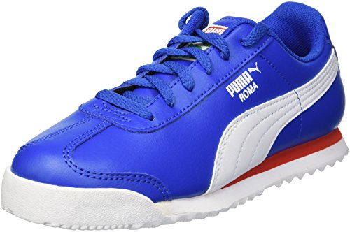 PUMA Unisex Roma Basic PS Sneaker, Olympian Blue White, 1 M US Little Kid (Puma Roma Basic Kids)