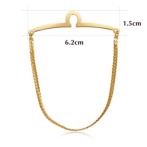 Yoursfs Tie Chain Polish Loop Men's Double Color Link Chain 2pcs Cravat Collar tie Clip by Yoursfs (Image #3)