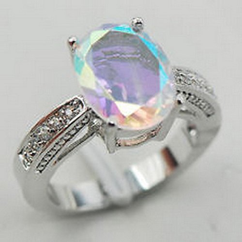 Topaz Jewel Rose - YD Jewels - Rose Rainbow Topaz White Topaz 925 Sterling Silver Ring Size 7