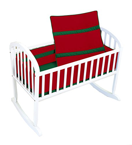 Baby Doll Solid Bedding Stripe Cradle Bedding Set, Red/Green