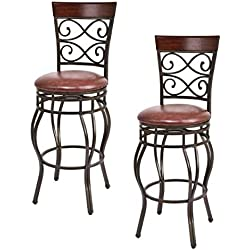 "COSTWAY Bar Stools Set of 2, 360 Degree Swivel, 30"" Seat Height Bar Stools, w Leather Padded Seat Bistro Dining Kitchen Pub Metal Chairs (Set of 2)"