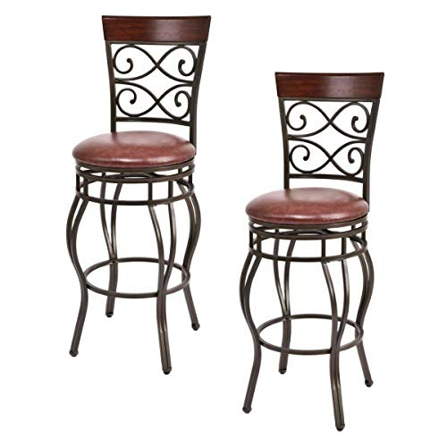 COSTWAY Vintage Bar Stools Swivel Comfortable Leather Padded Seat Bistro Dining Kitchen Pub Metal 29.5