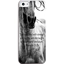 Christian Quotes Proverbs 31:25 Cute Horse Case for iPhone 5 and 5S