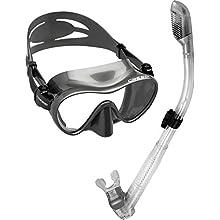 Cressi Scuba Diving Snorkeling Freediving Mask Snorkel Set, Titanium