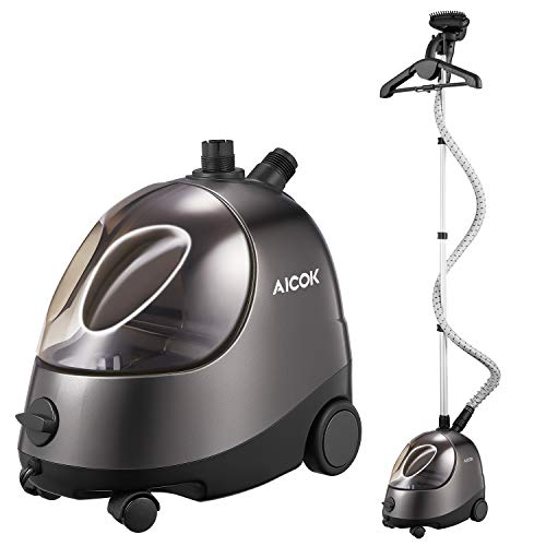 Steamer for Clothes, AICOK 68 OZ Full Size Garment Steamer, 1500W 45S Fast-Heating Standing Clothes Steamer, Heavy Duty Clothes Steamer, 60-Min Continuous Steam, Fabric Brush,Hanger,Retractable Pole