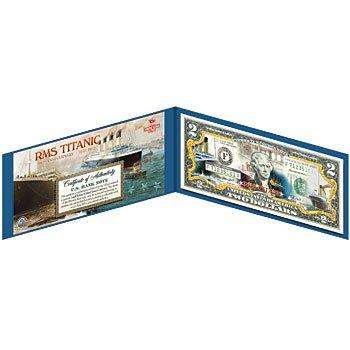 Titanic 100th Anniversary Commemorative Colorized $2 Bill in Folio