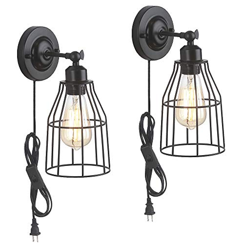 Industrial Toggle Light Switch - ZZ Joakoah 2 Pack Rustic Wall Sconce with Plug in Cord and Toggle Switch, Black Metal Cage Industrial Wall Lamp Light Fixture for Headboard Bedroom Farmhouse Garage Porch Bathroom Vanity