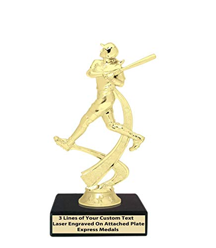 Express Medals 1st 2nd 3rd Place Winner Champion Girls Softball Trophies, Genuine Black Marble Base with Engraved Personalized Plates (10-Pack) 704 ()