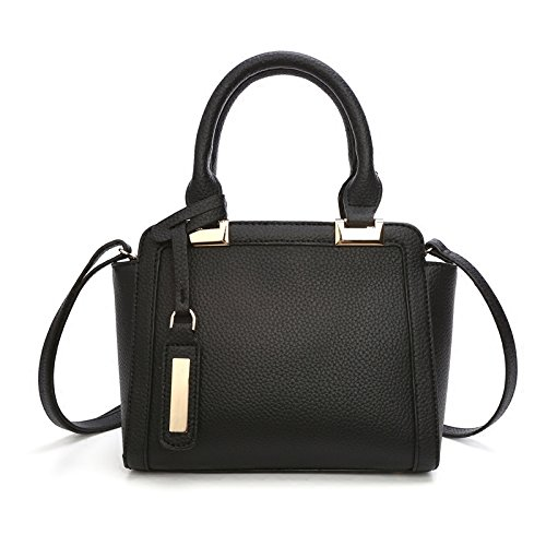 BAILIANG Womens Sac à Bandoulière En Cuir Crossbody Sac à Main Simple Mini Atmosphere Black