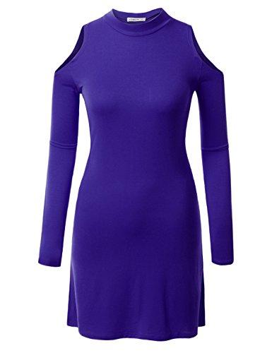 J.TOMSON Women's Long Sleeve Open Shoulder Mock Neck Tunic Dress ROYALBLUE S