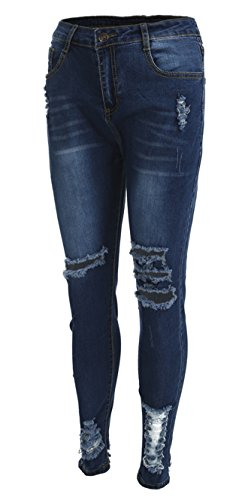 YT couple Women Stretch Ripped Skinny High Waist Slim Fit Denim Pants Jeans Leggings Long Pencil Trousers (Blue, L) by YT couple