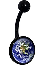 Body Candy Black Anodized Stainless Steel Vivid Earth Orbit Image Belly Ring