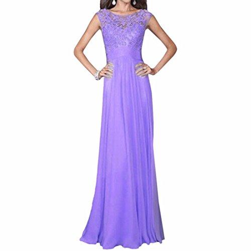 de mariage femmes de sans en col soie longue Sexy rond soiree manches Slim Violet robes mousseline de robe 0vz4RY