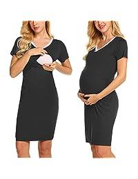 Ekouaer Maternity Dress Womens Casual Short Sleeve Breastfeeding Nightgown