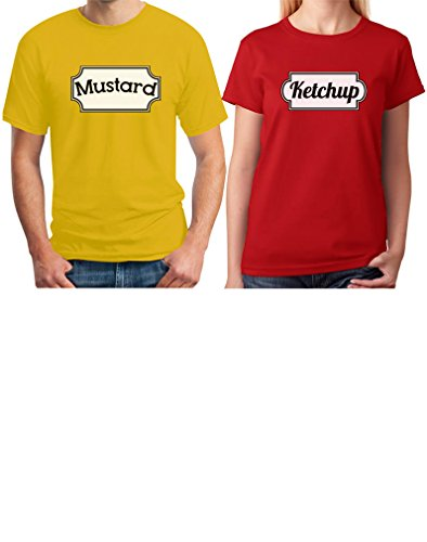 Ketchup & Mustard Matching Couple Halloween Set Easy Costume T-shirts Women XX-Large Red / Men Yellow XX-Large