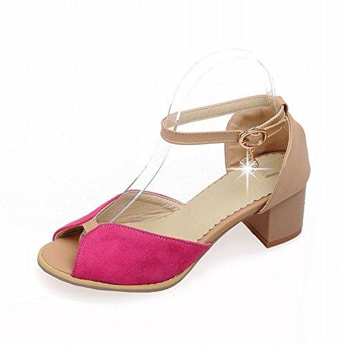 Carol Chaussures Mode Femmes Boucle De Cheville Boucle Strass Assortiment De Couleur Pendentif Chunky Mi-talon Sandales Rose Rouge