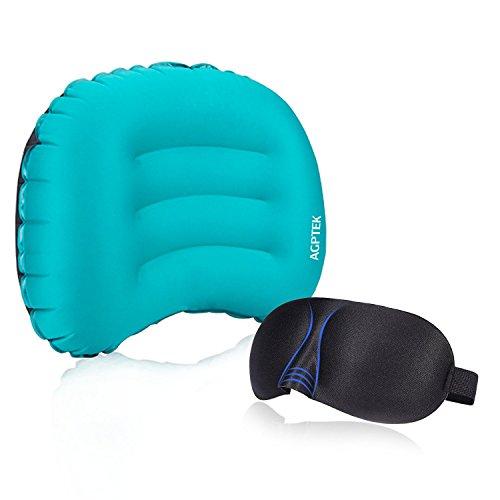 AGPtek Almohada Inflable Ultraligera con 3D Máscara de Ojos para Viajar o Actividades al Aire Libre