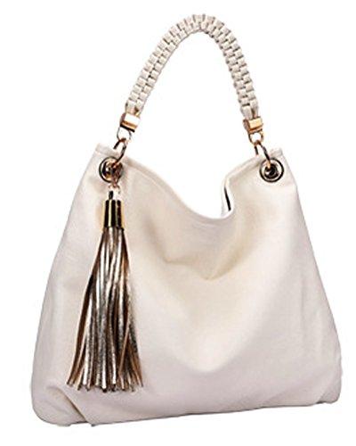 Zzfab Elegant Gold Tassle Hobo Bag (White)