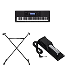 Casio Inc. WK245 76-Key Touch Sensitive Keyboard Value Bundle with Power Supply, Casio Stand, and Casio Sustain Pedal