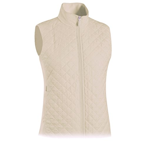 Monterey Club Ladies Quilted Microfiber Foil Dotty Vest #2787 (Champagne, X-Large)