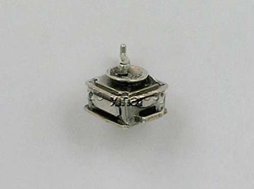 Pendant Jewelry Making/Chain Pendant/Bracelet Pendant Sterling Silver 3D Movable Coffee Grinder Charm