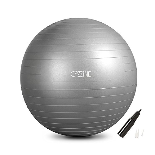 Cheap  Exercise Ball, Cozzine 65CM Fitness Balance Ball with Hand Pump, Workout Guide,..