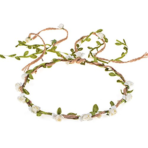 DDazzling Flower Crown Floral Wreath Headband Floral Garland Headbands photo props (Lvory) -