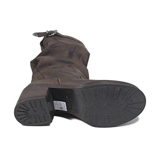 Donna Testa con Italy Made Pelle in In di Time Moro Tacco Biker Arricciati Stivali in Marrone Boots Invernali Vera 0308 aqa0CFTwnx